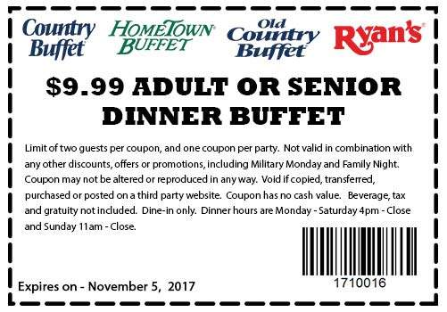 ryans coupons 10 bottomless dinner at ryans hometown buffet rh thecouponsapp com