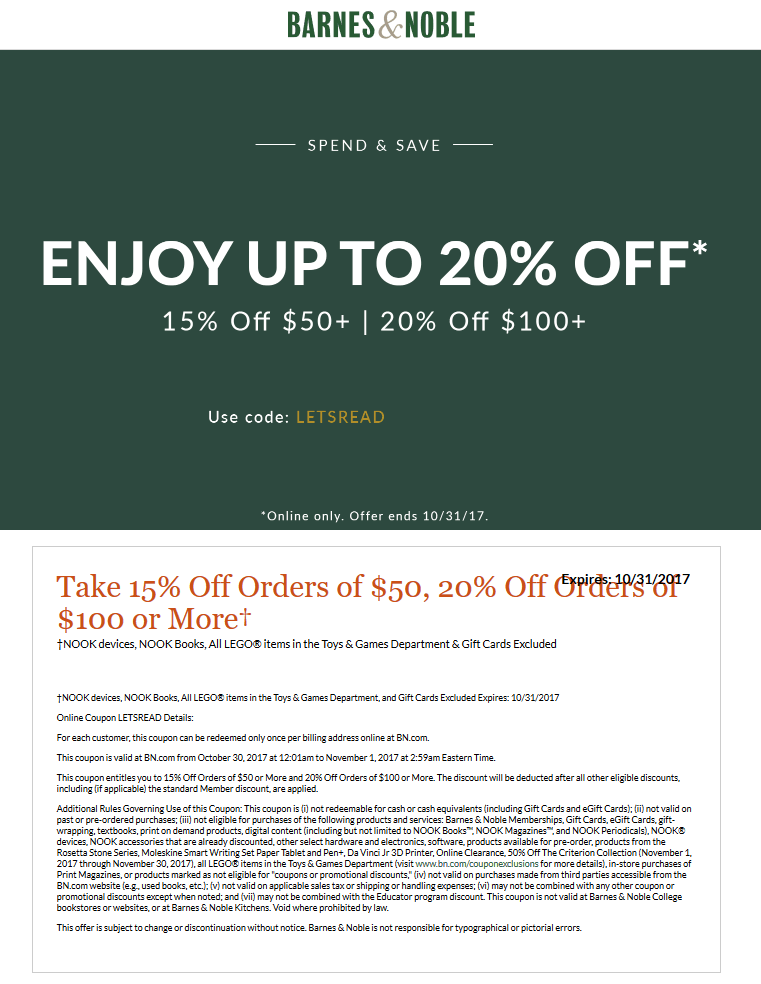 Barnes&Noble.com Promo Coupon 15-20% off $50+ at Barnes & Noble, or online via promo code LETSREAD