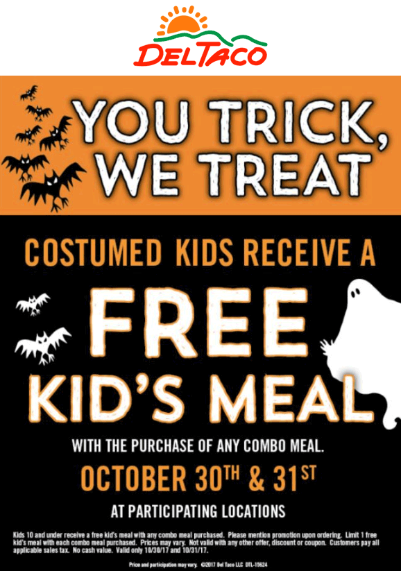 Del Taco Coupon August 2018 Free kids meal in costume today at Del Taco
