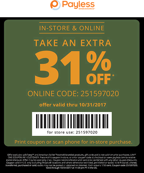 PaylessShoesource.com Promo Coupon 31% off today at Payless Shoesource, or online via promo code 251597020
