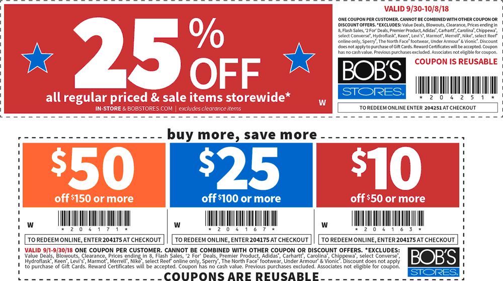 Bobs Stores Coupon December 2019 Extra 25% off & more at Bobs Stores, or online via promo code 204251