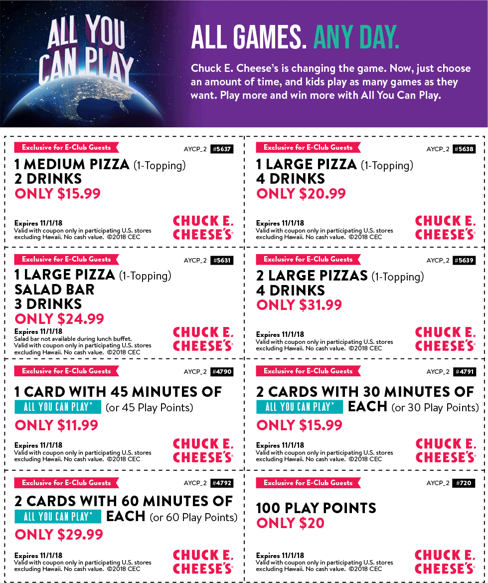 Chuck E. Cheese Coupon June 2019 100 play points for $20 & more at Chuck E. Cheese pizza