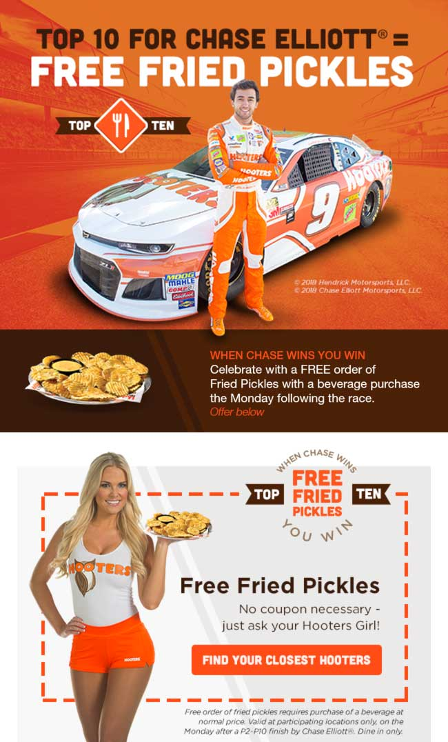Hooters.com Promo Coupon Free fried pickles today at Hooters restaurants
