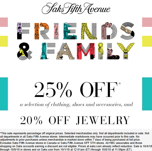 SaksFifthAvenue.com Promo Coupon 25% off at Saks Fifth Avenue, ditto online