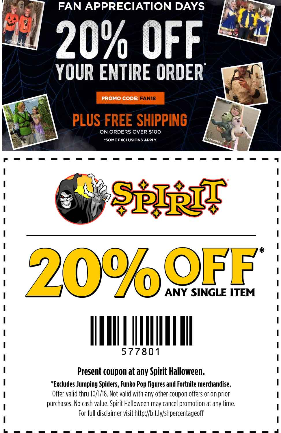 spirithalloweencom promo coupon 20 off a single item today at spirit halloween