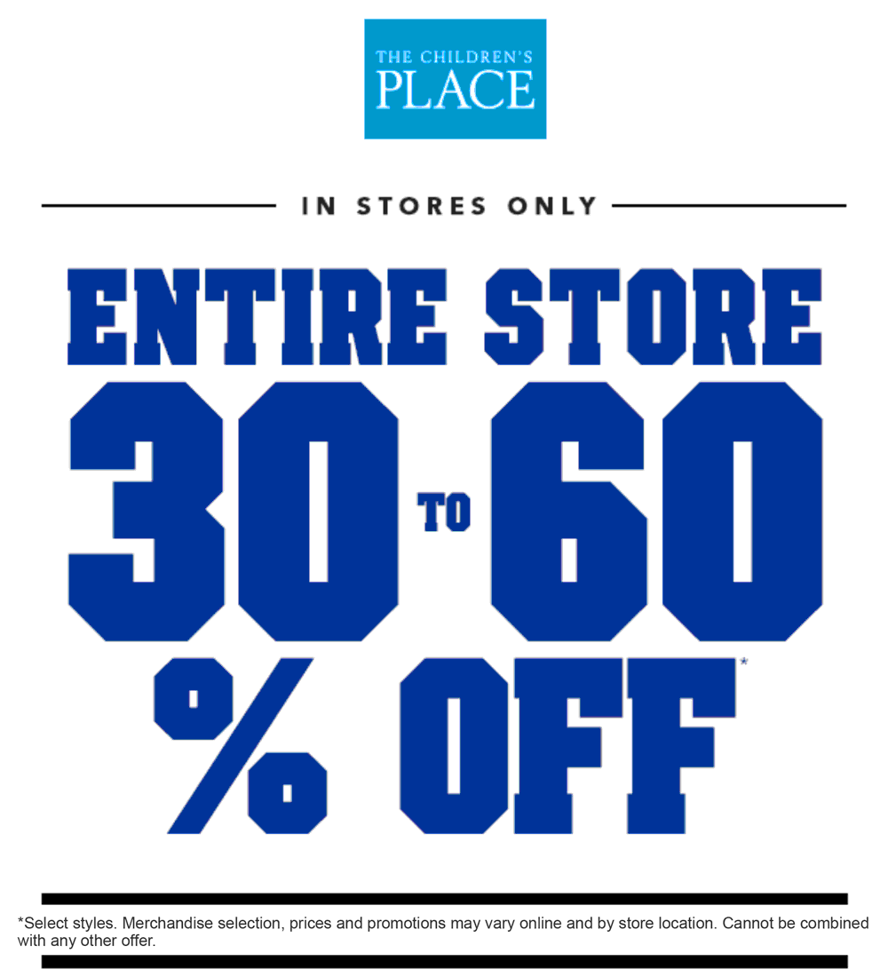 TheChildrensPlace.com Promo Coupon 30-60% off everything at The Childrens Place