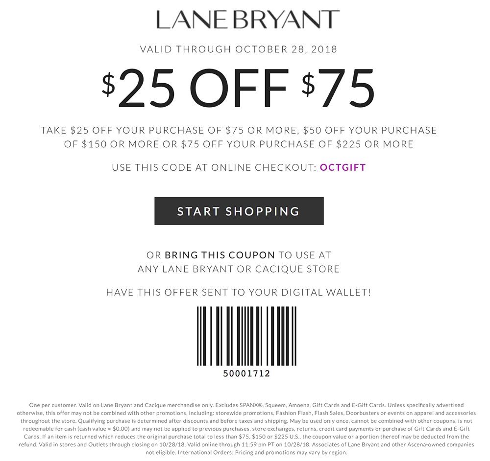 Lane Bryant Coupon July 2019 $25 off $75 at Lane Bryant, or online via promo code OCTGIFT