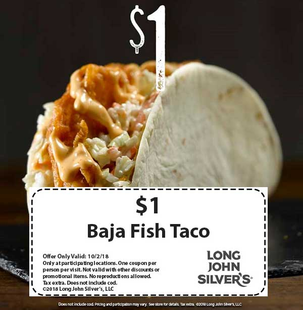 Long John Silvers Coupon July 2019 $1 baja fish taco today at Long John Silvers restaurants