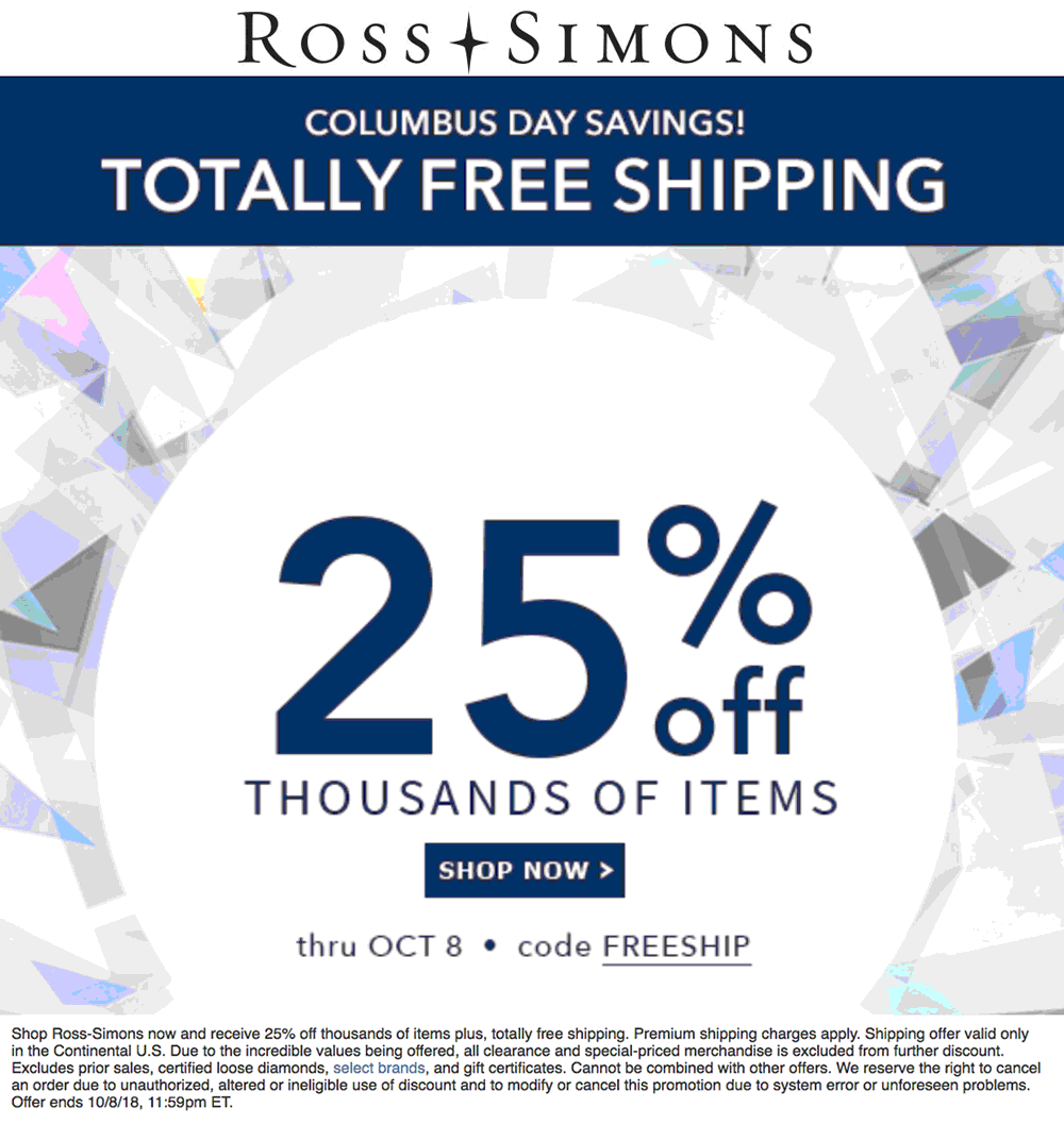 Ross-Simons Coupon July 2019 25% at Ross-Simons with free shipping via promo code FREESHIP