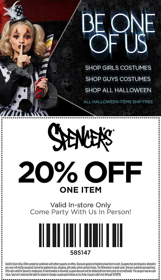 Spencers Coupon January 2020 20% off a single item at Spencers