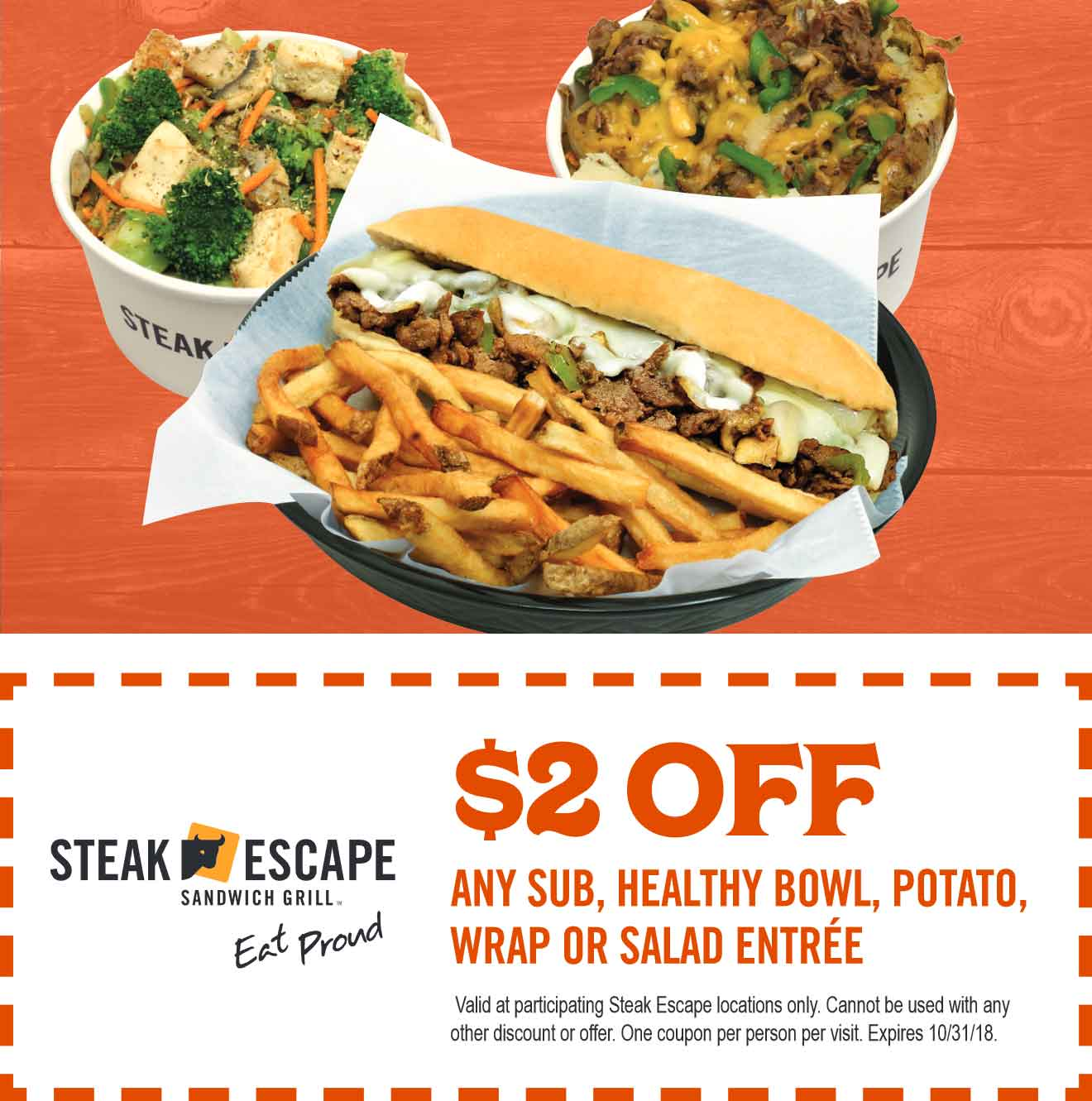 Steak Escape Coupon November 2019 $2 off subs, bowls, wraps & salads at Steak Escape restaurants