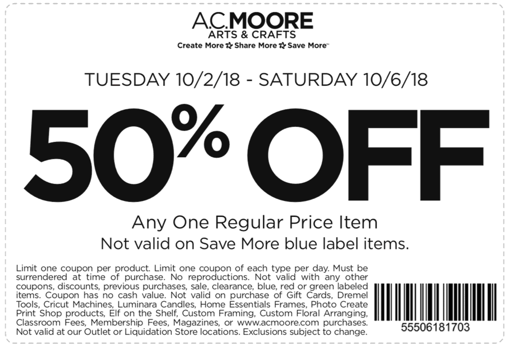 A.C. Moore Coupon October 2019 50% off a single item at A.C. Moore