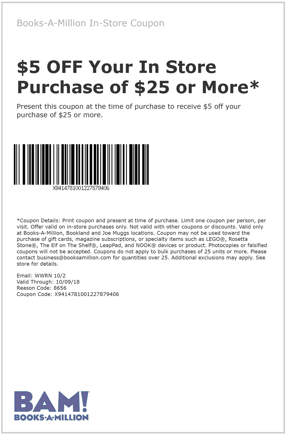 Books-A-Million Coupon November 2019 $5 off $25 at Books-A-Million, or $10 off $50 online via promo code 10OCT50