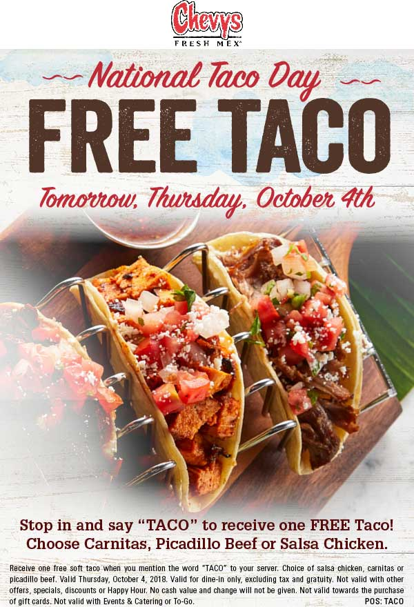 Chevys Coupon November 2019 Free taco Thursday at Chevys Fresh Mex restaurants
