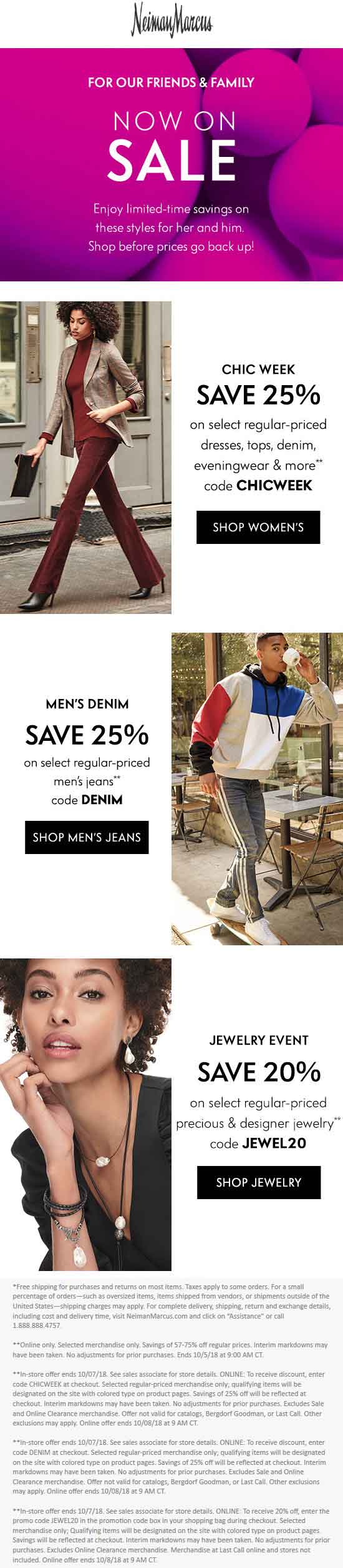 Neiman Marcus Coupon May 2019 20-25% off at Neiman Marcus, or online via promo code CHICWEEK