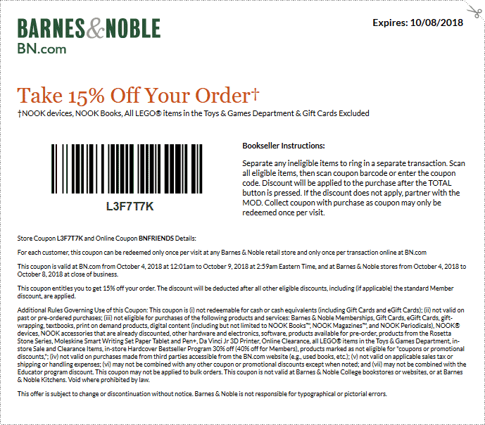 Barnes & Noble Coupon November 2019 15% off at Barnes & Noble, or online via promo code BNFRIENDS