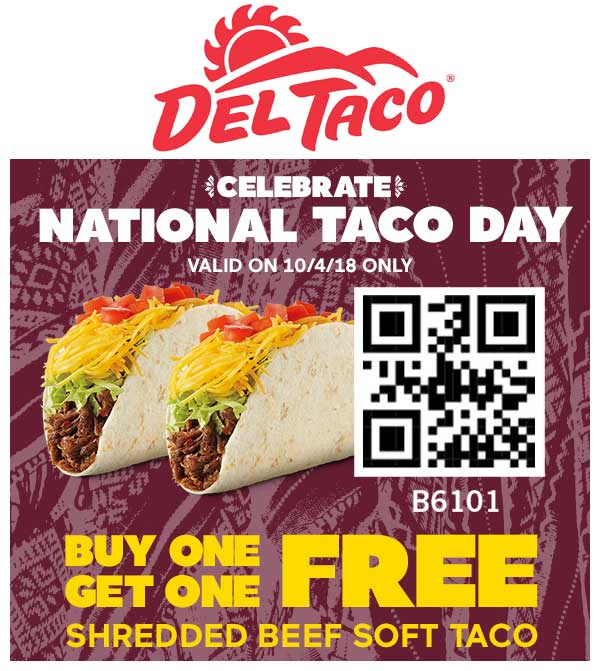 Del Taco Coupon May 2019 Second taco free today at Del Taco restaurants