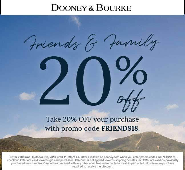 Dooney & Bourke Coupon July 2019 20% off online at Dooney & Bourke via promo code FRIENDS18