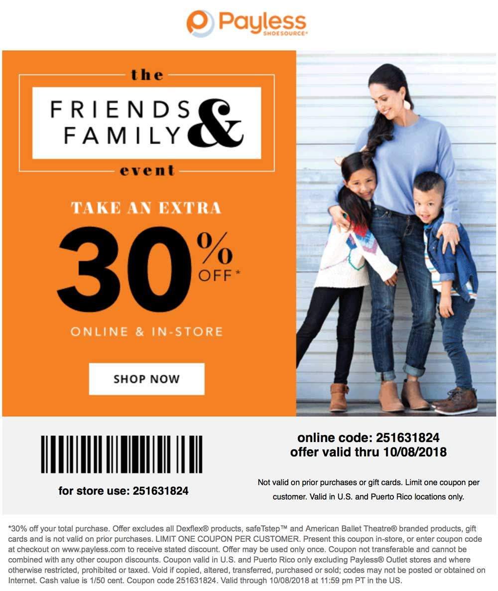 Payless Shoesource Coupon September 2019 30% off at Payless Shoesource, or online via promo code 251631824