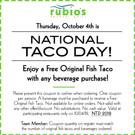 Rubios Coupon July 2019 Free fish taco with your drink today at Rubios