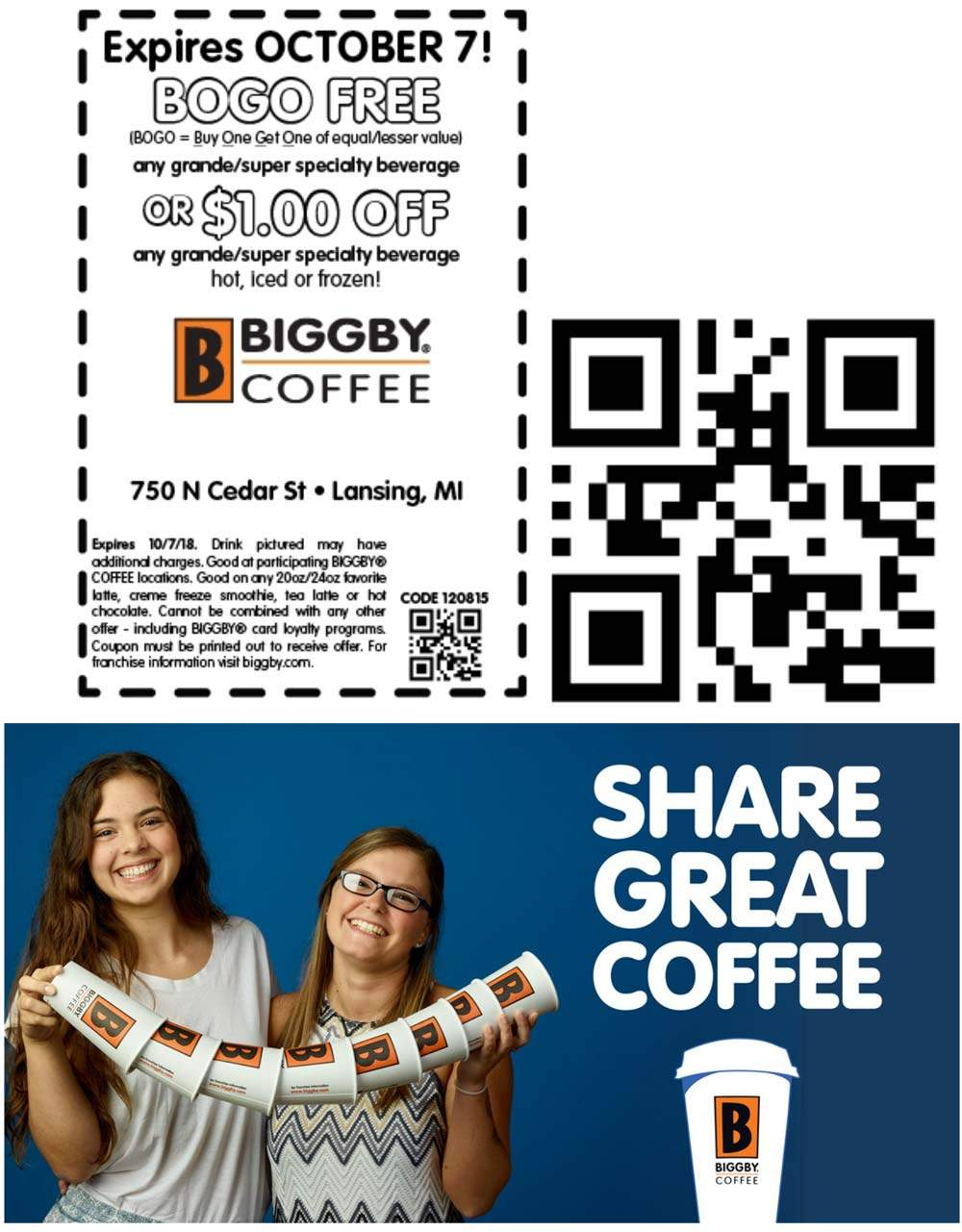 Biggby Coffee Coupon September 2019 Second coffee free at Biggby Coffee
