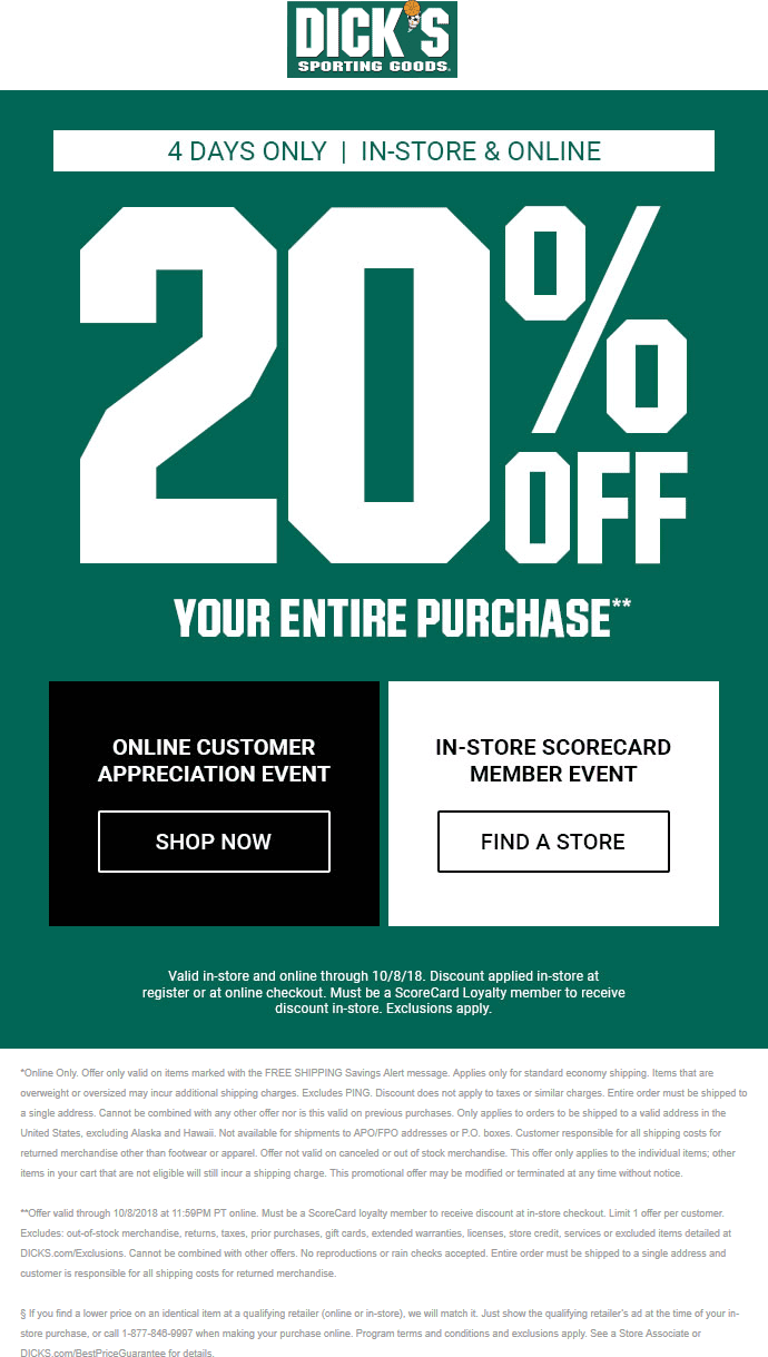 Dicks Coupon September 2019 20% off at Dicks sporting goods, ditto online