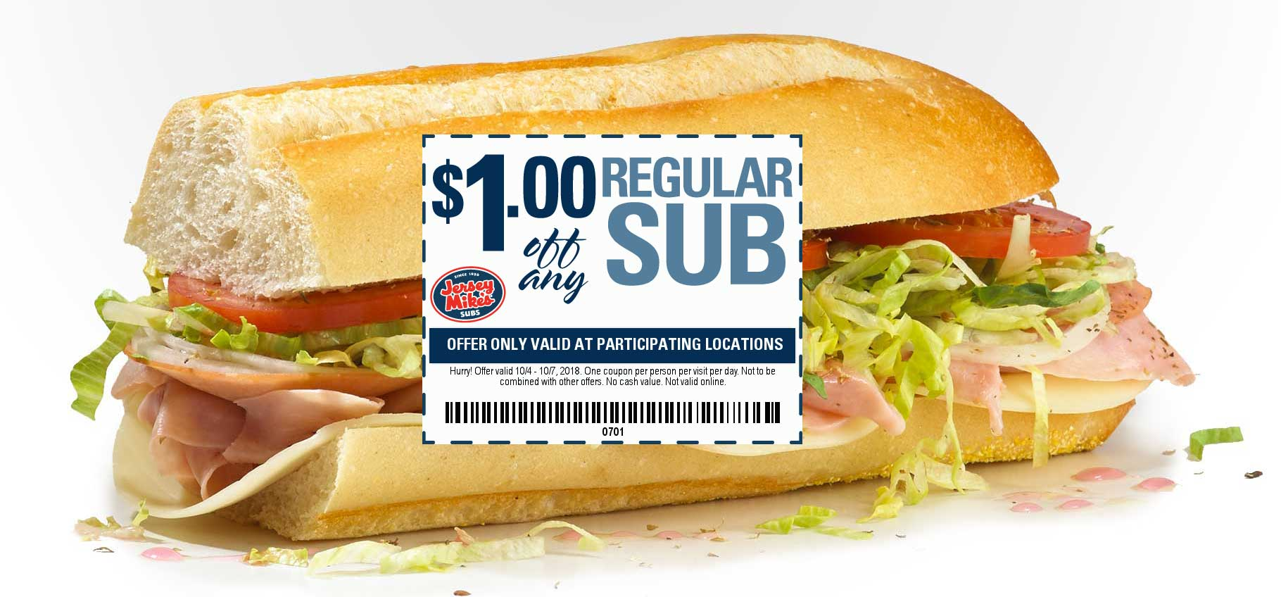 Jersey Mikes Coupon July 2019 $1 off a sub sandwich at Jersey Mikes