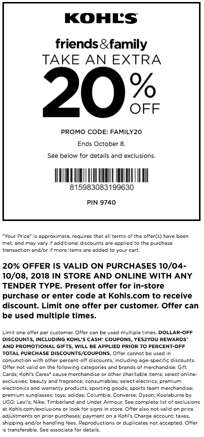 Kohls Coupon May 2019 Extra 20% off at Kohls, or online via promo code FAMILY20
