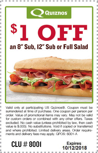 Quiznos Coupon May 2019 $1 off a sub sandwich at Quiznos