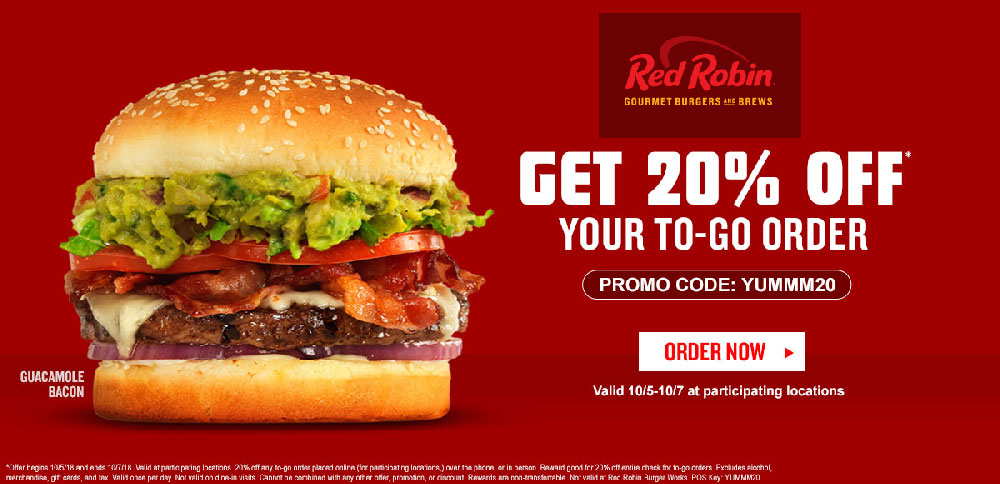 Red Robin Coupon May 2019 20% off takeout at Red Robin restaurants via promo code YUMMM20