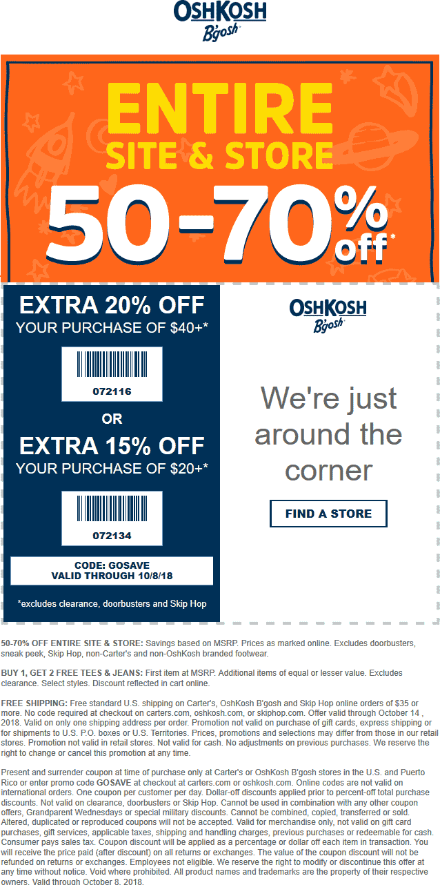 OshKosh Bgosh Coupon November 2019 70% off $40+ at OshKosh Bgosh, or online via promo code GOSAVE