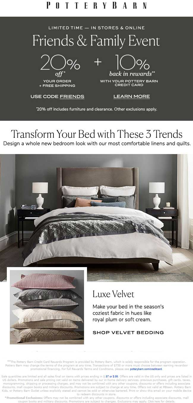 Pottery Barn Coupon January 2020 20% off at Pottery Barn, or online via promo code FRIENDS