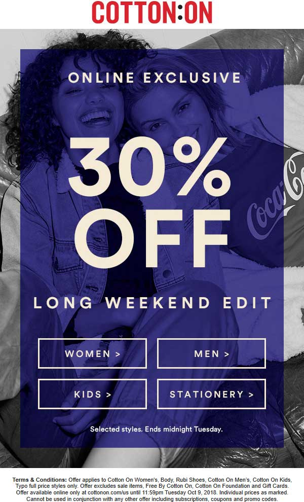 Cotton On Coupon January 2020 30% off online at Cotton On, no code needed