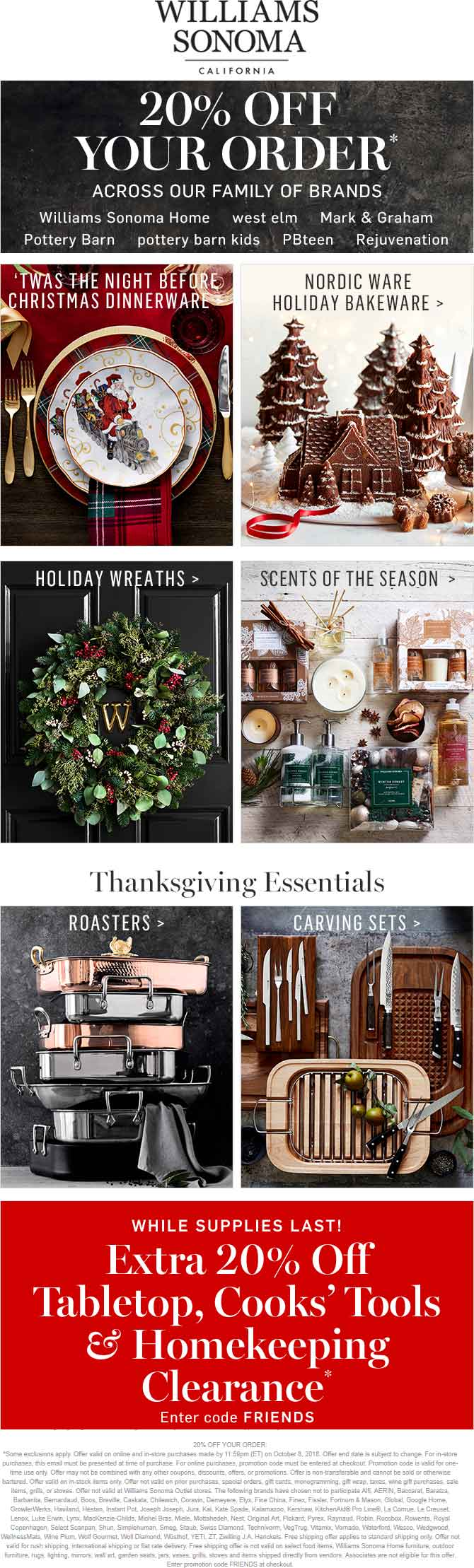 Williams Sonoma Coupon November 2019 20% off at Williams Sonoma, West Elm, Mark & Graham, Rejuvenation, or online via promo code FRIENDS