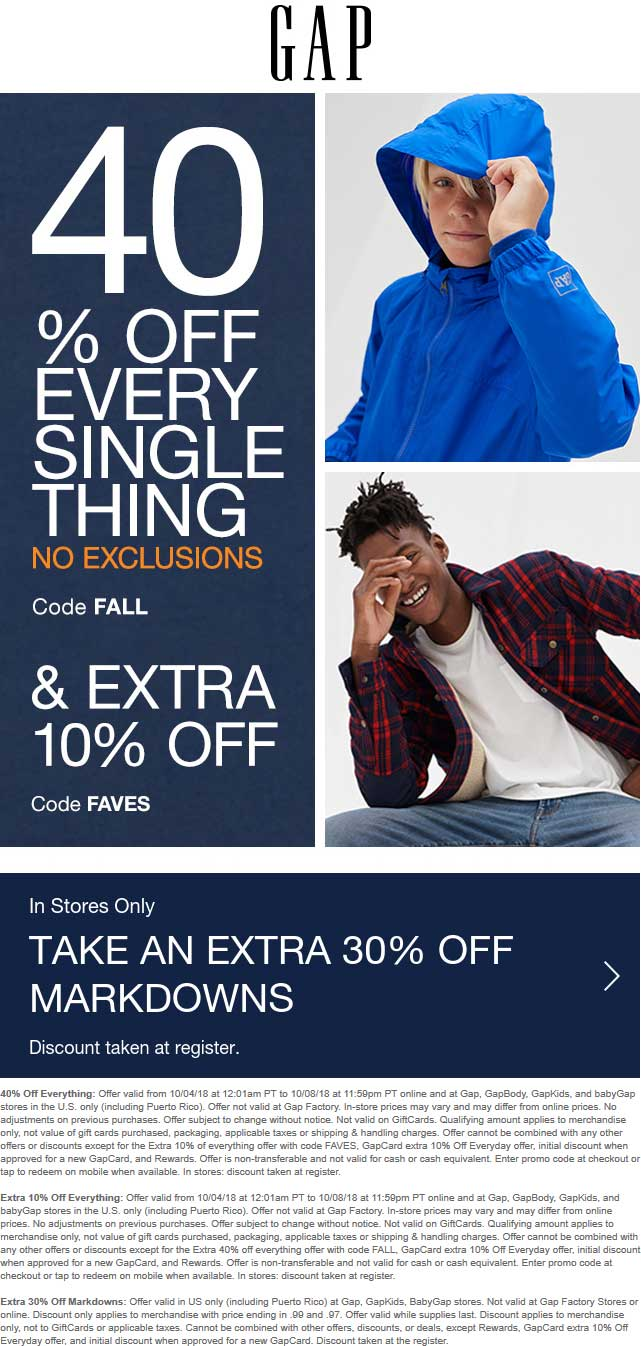 Gap Coupon July 2019 50% off everything today at Gap, GapBody, GapKids, and babyGap, or online via promo code FAVES