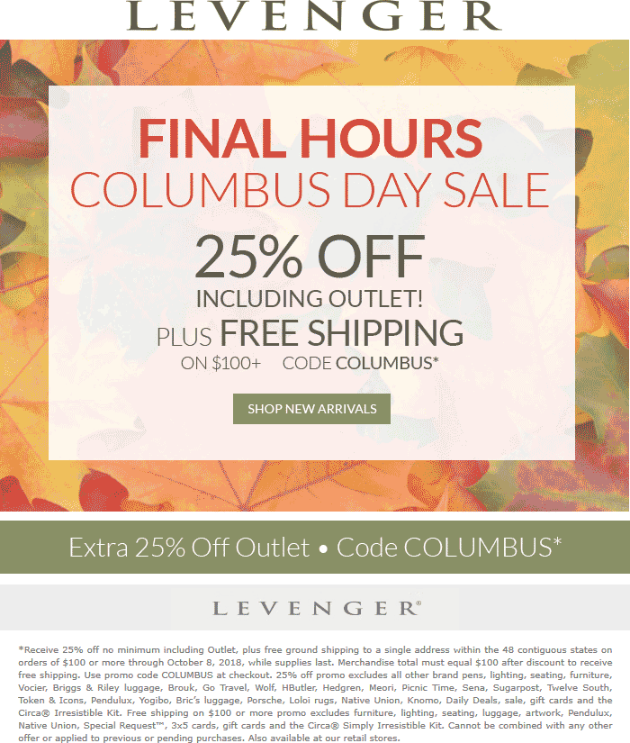 Levenger Coupon August 2019 25% off today at Levenger, or online via promo code COLUMBUS