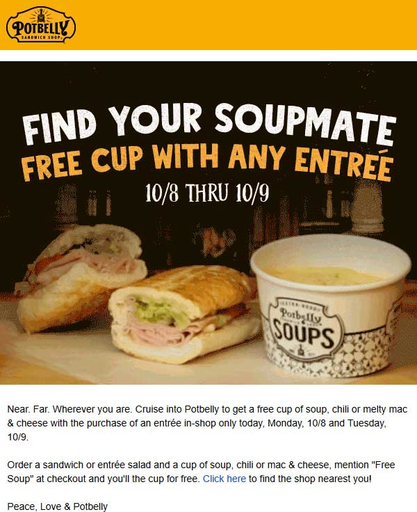 Potbelly Coupon July 2019 Free soup with your entree at Potbelly sandwich shop