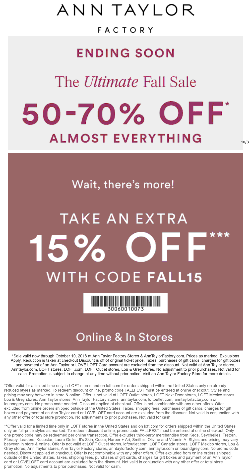 Ann Taylor Factory Coupon July 2019 65-85% off everything at Ann Taylor Factory, or online via promo code FALL15