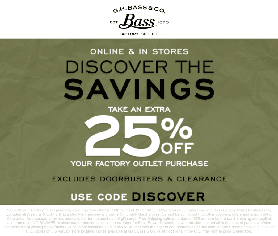 G.H. Bass Factory Outlet Coupon December 2019 25% off at G.H. Bass Factory Outlet locations, or online via promo code DISCOVER