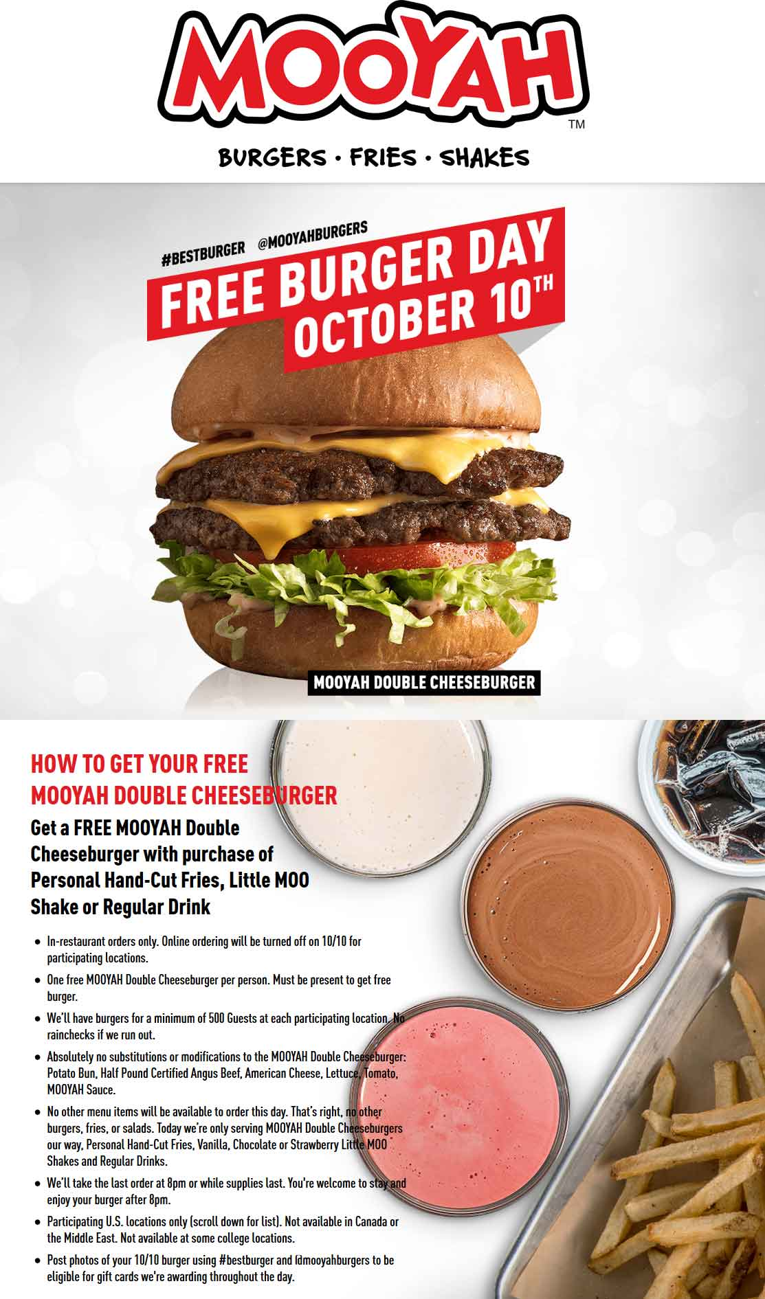 Mooyah Coupon November 2019 Free double cheeseburger with your fries & drink Wednesday at Mooyah restaurants