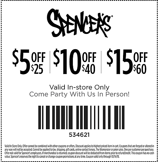 Spencers Coupon December 2019 $5 off $25 & more at Spencers