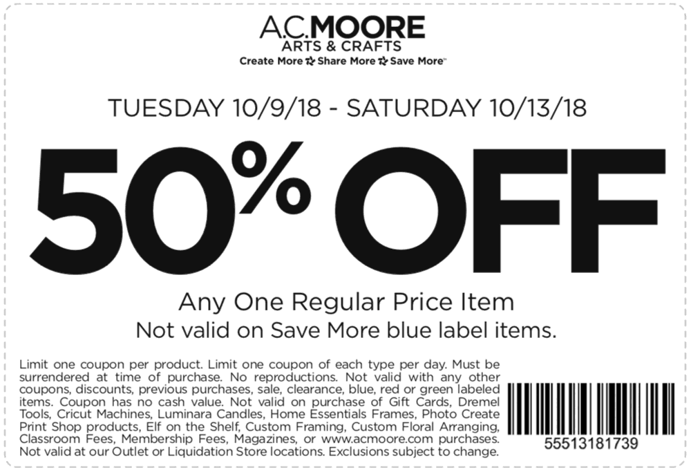A.C. Moore Coupon June 2019 50% off a single item at A.C. Moore