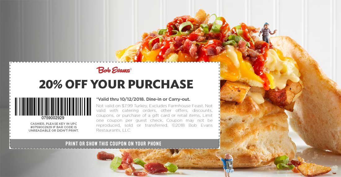 Bob Evans Coupon February 2019 20% off at Bob Evans restaurants