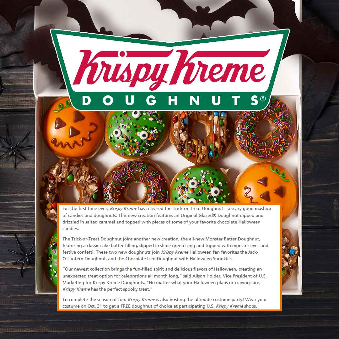 Krispy Kreme Coupon November 2019 Free doughnut on Halloween at Krispy Kreme