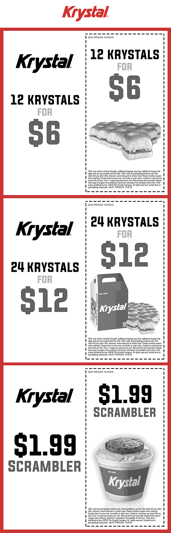 Krystal Coupon December 2019 $2 scrambler & more at Krystal restaurants