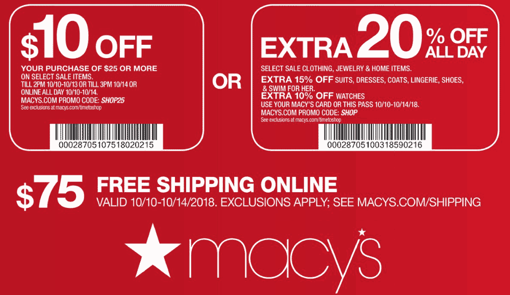 Macys Coupon January 2020 $10 off $25 at Macys, or online via promo code SHOP25