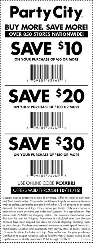 Party City Coupon January 2019 $10 off $60 & more at Party City, or online via promo code PCXXRRJ