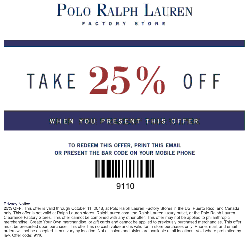 Polo Ralph Lauren Factory Coupon July 2019 25% off at Polo Ralph Lauren Factory