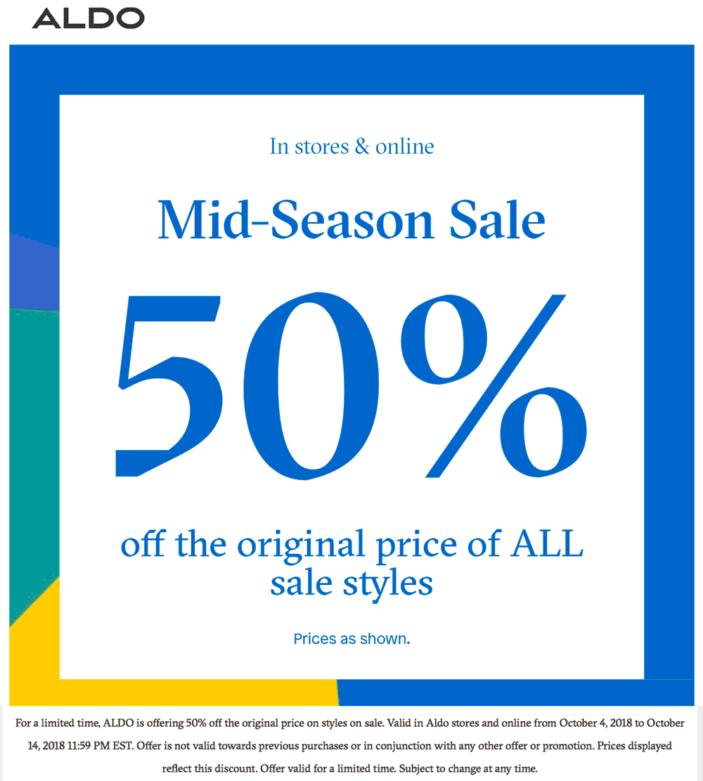 Aldo Coupon July 2019 Sale items are 50% off at ALDO shoes, ditto online
