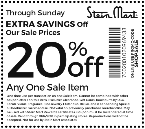 Stein Mart Coupon October 2019 Extra 20% off a single sale item at Stein Mart, or online via promo code SHOPSALE